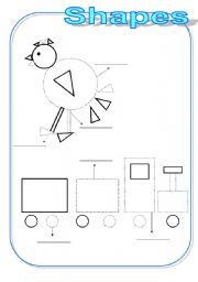 English Worksheet: Shapes...NINE PAGES...carousel-chicken-robot-train-dog-house-kite-frog-bear-cat-fish-plane-ship-lion-cake...FOLLOW THE DOTS AND COLOR...RECTANGLE-CIRCLE-SQUARE-TRIANGLE