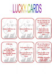 English Worksheet: Grammar monopoly - Lucky cards 2/5