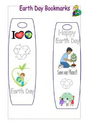 English Worksheet:  Earth Day Bookmarks