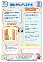 English Worksheets: BRAIN - IT IS AMAZING! Part1