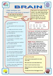 English Worksheets: BRAIN - IT IS AMAZING! Part 2