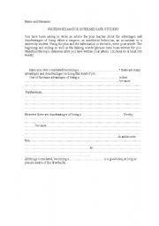 English Worksheets: writing exam for intermediate students