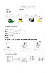 WORKSHEET ABOUT GREETINGS,ASKING NAME,NUMBERS