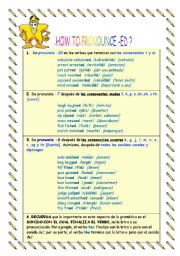 English Worksheet: RULES OF PRONOUNCIATION AND SPELLING OF -ED