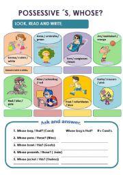 English Worksheets: POSSESSIVE