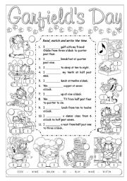 English Worksheet: Garfield�s Daily Routines