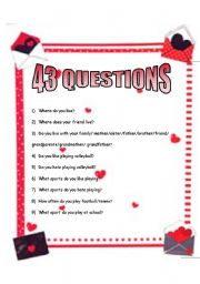 English worksheet: Personal Questions: Simple Present, There is/are,
