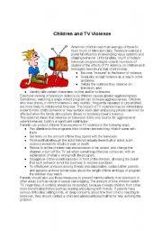 English Worksheet: CHILDREN AND TV VIOLENCE