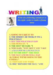 English Worksheets: WRITING :   The lost pinguin