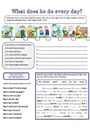 English Worksheet: WHAT DOES HE DO EVERY DAY?