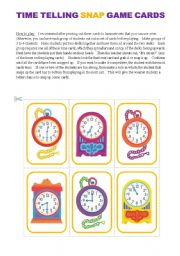English Worksheet: Basic Time Telling Game (15 Cards)