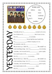 English Worksheet: Yesterday Song Listening