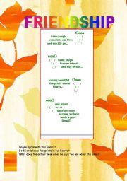English worksheet:  Poem about Friendship