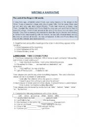 English Worksheet: TIME FOR WRITING , writing aa narrative