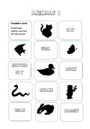 English Worksheets: ANIMALS - silhouette (Game) - 3 pages