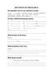 English Worksheets: REVISION OF THE BASICS