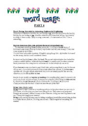 English worksheet: WORD USAGE 4