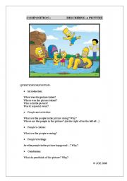 English Worksheets: WRITING: DESCRIBING A PICTURE worksheet