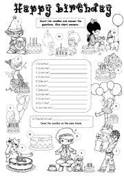English Worksheet: Happy birthday 2 - level 2 or 3