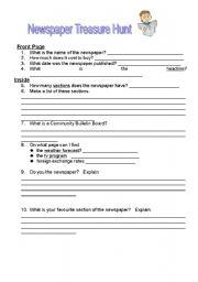 English worksheet: Newspaper Treasure Hunt