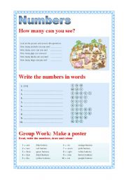English Worksheets: Numbers from 1 to 10