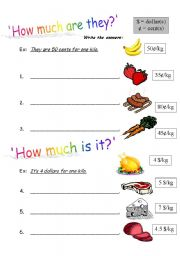 worksheet: ´How much is it / are they?´