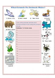 English Worksheet: What Sounds Do Animals Make?