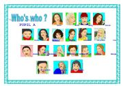 English Worksheets: WHO�S WHO ? face pairwork !!!!!!!!!!!!!!!!!!!!!!!!!!!!!!!!!!!!!!!!! #2 - 1/2