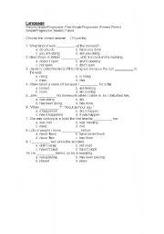 English worksheet: Tense Test - multiple choice
