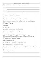 english worksheets health sports a gym application form. Black Bedroom Furniture Sets. Home Design Ideas