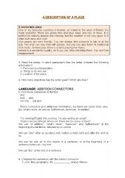 English Worksheet: TIME FOR WRITING,  a description of a place