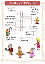 English Worksheet: Family crossword