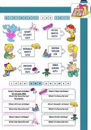 English Worksheet: BIRTHDAYS AND FAVOURITE TOYS