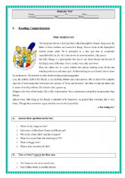 English Worksheet: THE SIMPSONS - Reading Comprehension Test