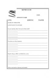 English Worksheets: Any movie handout