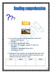 English Worksheets: Reading comprehension advice (for ss)
