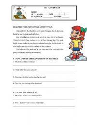 English Worksheet: TEST YOUR ENGLISH _