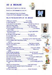 English Worksheets: SO &  BECAUSE
