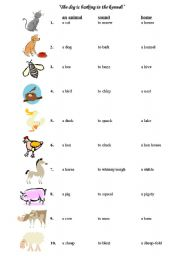 English Worksheet: animals� sounds and homes + activities(very useful)
