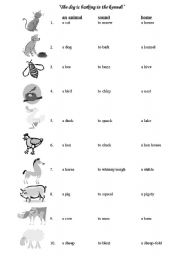 English Worksheets: animal� sounds and homes black&white