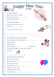 picture relating to New Year's Worksheets Printable named Pleased Refreshing Yr - Tune by means of Abba - ESL worksheet as a result of blizzard1
