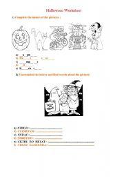 English worksheet: Halloween Worksheet