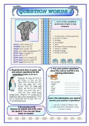 English Worksheets: Question words (part two)