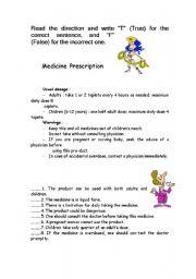 English Worksheet: Medicine  Prescription