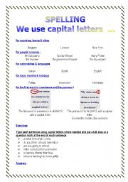 Spelling we use capital letters... (2 pages)