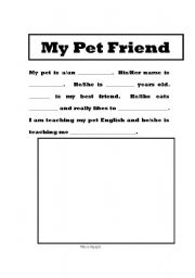 English Worksheets: My Pet Friend