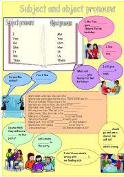 English Worksheet: Subject and object pronouns