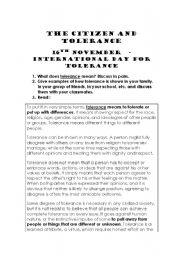 CITIZENSHIP EDUCATION- Tolerance