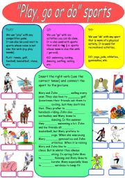 English Worksheet: Play, go or do - sports
