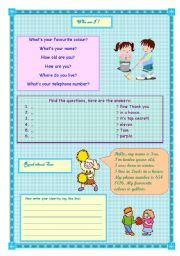 English Worksheets: basic questions on identity and introducing myself